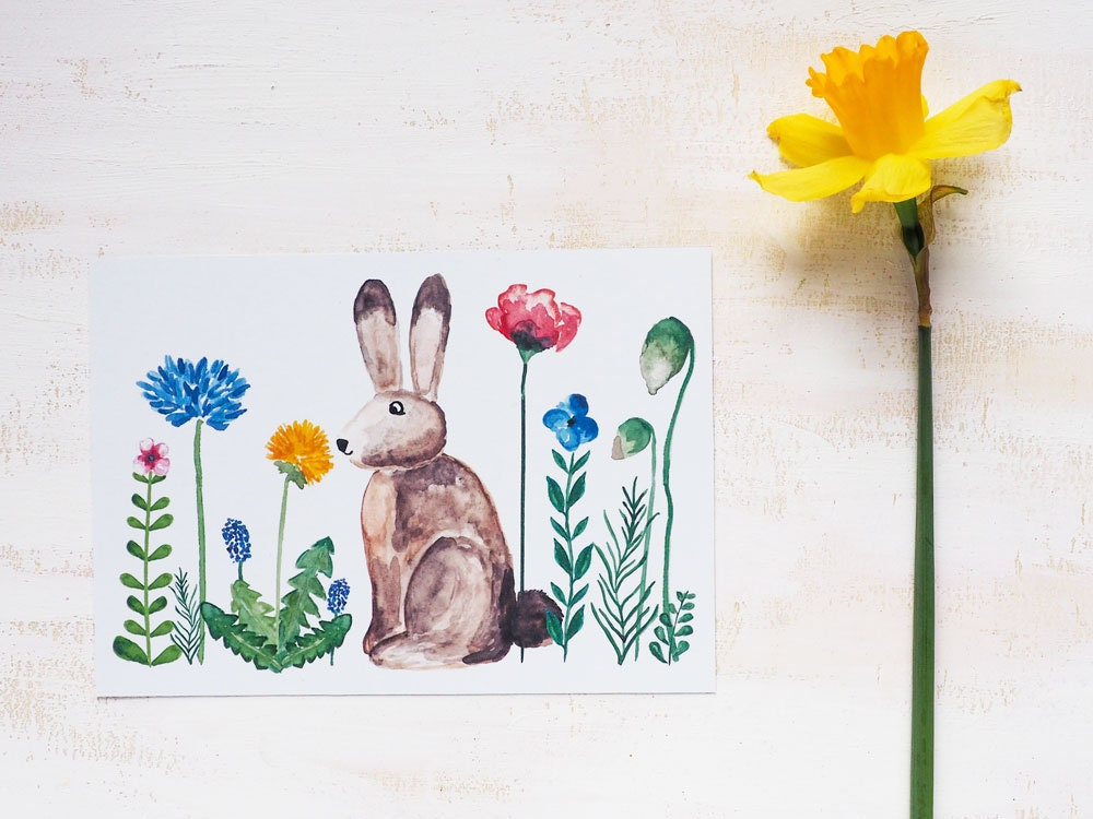 Postcard easter with hand painted motifs spring easter bunny postcard easter with hand painted motifs spring easter bunny postcard m4hsunfo