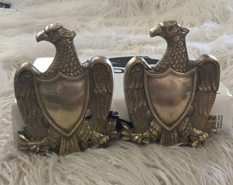 Vintage brass federal style eagle bookends America 4th of July patriotic