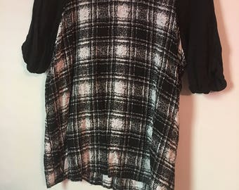 B&W Plaid Blouse Size M/L