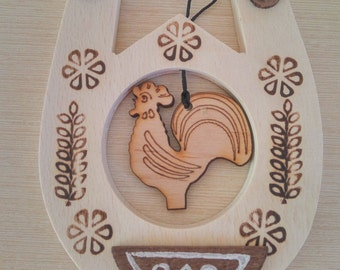 Horseshoe for good luck, Horseshoe luck, Hand-painted, Wall decor, Luck talisman, Mascot, Wooden wall decor, Rooster 2017, Symbol 2017