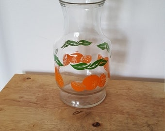 Vintage glass juice carafe, vintage pitcher, retro kitchen, orange juice pitcher