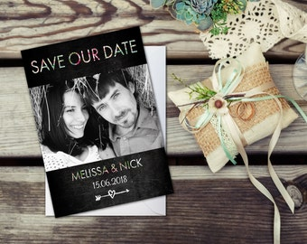 Rustic wedding save the date, Photo Save the Date cards, Save our date, Rustic wedding invitation, Vintage save the date, Floral wedding, A6