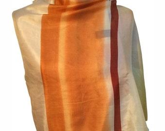 Burnt orange striped silk chiffon scarf