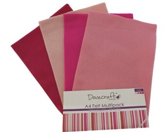 A4 Felt Multiple Pack - 8 sheets in 4 shades per pack - Dovecraft