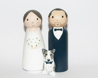 Wedding Cake Topper with dog or cat - Custom Bride and Groom - Personalized Wedding Decor