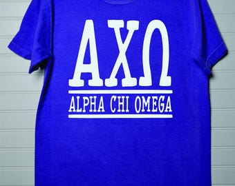 Alpha Chi Omega 133 Sorority Comfort Color Shirt Short Sleeve or Long Sleeve with White or Colored Design