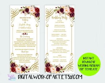Wedding Program Template,DIY Floral Bohemian Wedding Program Template,Editable PDF instant download,boho, roses,wedding ceremony program,#lc