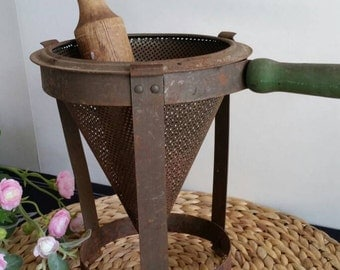 Antique Cone shaped Sieve with stand and wooden pestle/Primitive decor/Kitchen decor/Cone Strainer/Wooden pestle/Wooden handle sieve