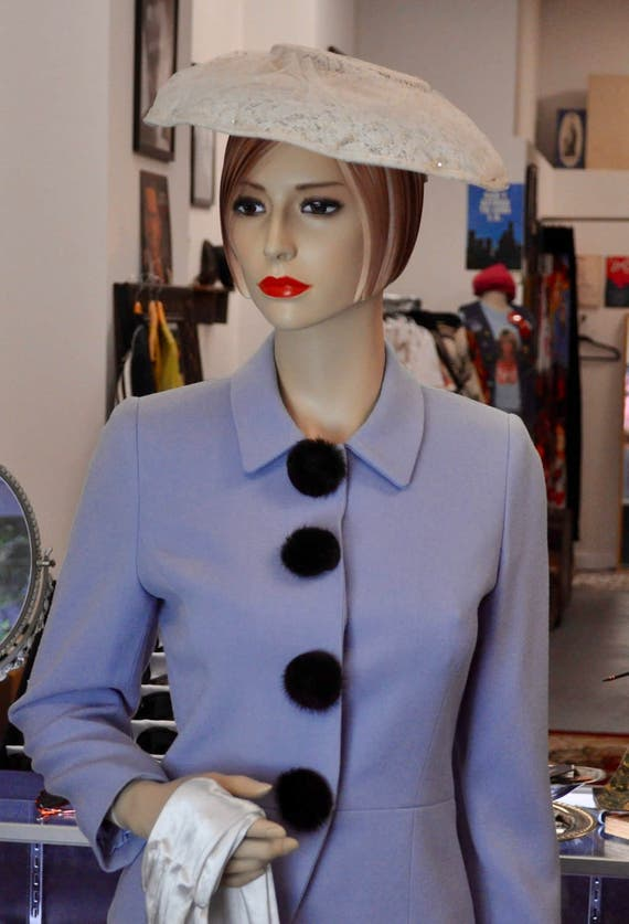 Gorgeous Pale Blue Wool Two-Piece Suit with Mink Buttons