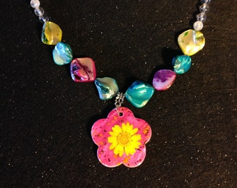 Hippie Chic Yellow Flower in Pink Colorful Necklace