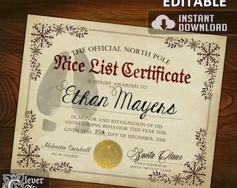 Printable santas nice list certificatediy santa nice list certificate official north pole editable nice list certificate authentic santas nice list santa claus yadclub Images