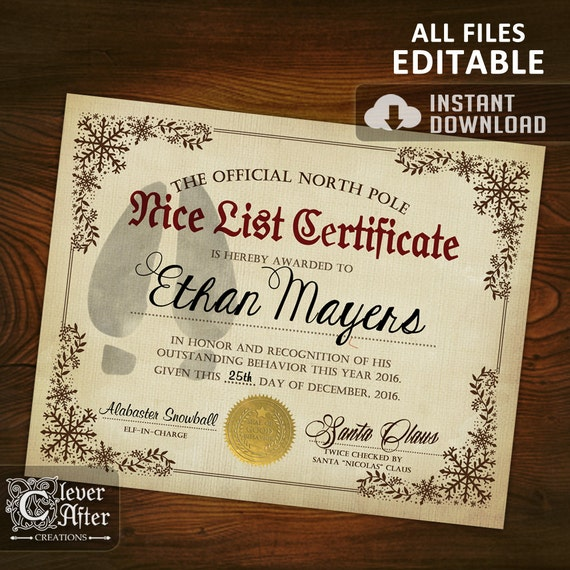 Nice List Certificate Official North Pole editable Nice List