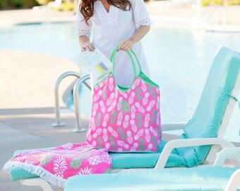 Monogram beach tote,  Personalized Monogrammed Beach Bags, Pineapple Beach Bag