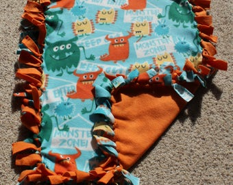 "Monster Fleece Tie ""Little Lovie"" Blanket (Approximately 20 inches x 27 inches)"