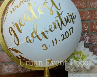 "Globe, Guestbook Globe, Custom Painted Globe, World Globe, Wedding Guest Book, Wedding decor, Nursery, Anniversary, 12"" metal stand,"