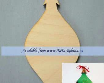 338-S Package of 3 Narrow Teardrop Ornaments-Puttin on the Glitz-Wood Surface Only-Christmas Ornaments-DIY-3 Designs-Holly-Berries-Mistletoe