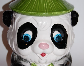 Vintage Panda Bear Cookie Jar - Japan