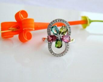 Natural Multi Tourmaline & White Topaz Ring. Multi Tourmaline pears Gemstone Ring. October Birthstone. Fashion Stylish Sterling Silver Rings