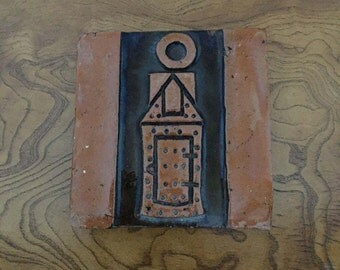 Vintage Ceramic Tile with a Church Design