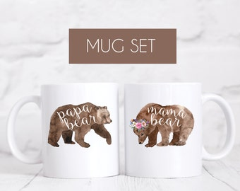 Mama Bear and Papa Bear Mug Set, New Parents Gift, Pregnancy Announcement, Pregnancy Reveal, Mother's Day, Father's Day, Baby Shower Gift