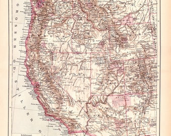 Antique West Coast Of America Map From 1890 United States Map Of United States