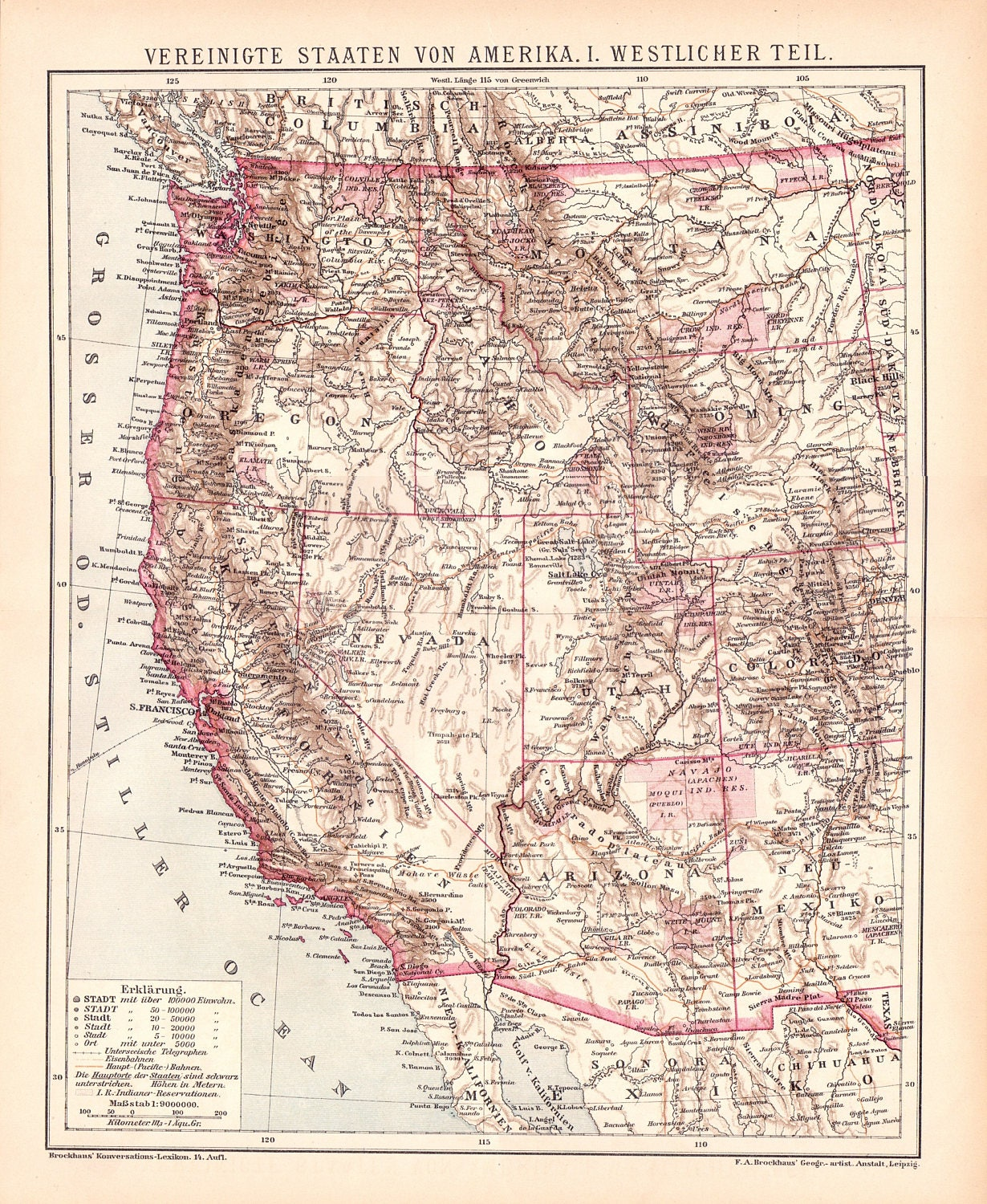Antique West Coast of America Map from 1890 United States