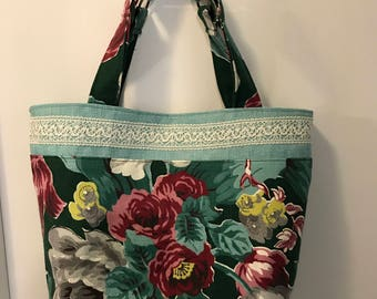 Handmade with vintage 1940s turquoise/green nubby barkcloth, burlap & crochet tote