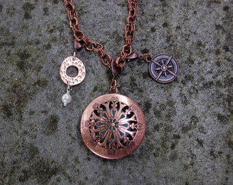 Long Statement Necklace - Copper Filiagree/Diffuser Locket