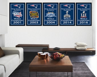 New England Patriots 5 Super Bowl Banners Art Illustration Prints - Set of 5 (FREE SHIPPING)
