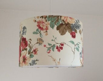 Lampshade floral white, red, drum lampshade, shabby chic lampshade, elegant lampshade, country chandelier