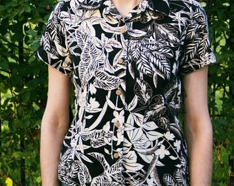 B&W Tropical Button Up