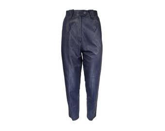 80s soft leather tapered trousers / CLEARANCE high waist navy blue leather pants / S / on sale