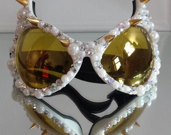 Burning man Goggles, White and Gold Cat Eye Goggles,  Festival wear, Party Gear, Rave