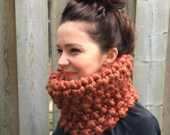 "Chunky Knit Handmade ""Moss Park"" Cowl in *rust* - Circle Scarf Neck Warmer"