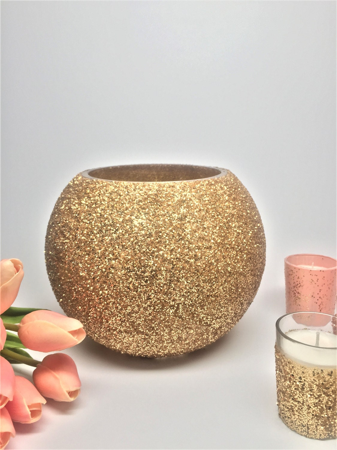 Glitter gold centerpiece vase custom