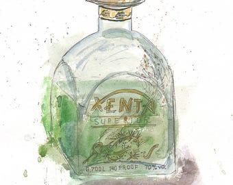 Original Watercolor Absinthe Bottle Painting, Drink Illustration, Kitchen Decor, Restaurant Decor, Bar Decor, Wall Art, Coctail, Sketch