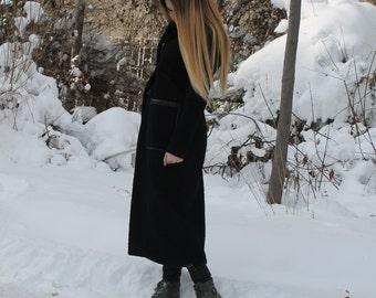 NEW Autumn/Winter Long Black Wool Coat | Extravagant Coat | Warm Elegant Coat | Soft Expensive Look Cot by Silvia Monetti