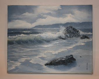 Vintage Seascape Oil Painting  - Original oil by Nadine Pollard - 8 x 10