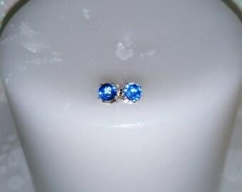 Kyanite Sapphire Blue Earrings, Sapphire Blue Natural Kyanite Studs, 4mm Round Stud Earrings