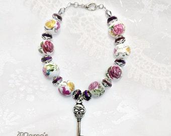 "Ceramic Rose and Glass Bracelet, 6.5"", Skull Key, Pink, White, Nickel Free, Swarovski, Teardrop, Crystals, Women's, Wedding, Bride"