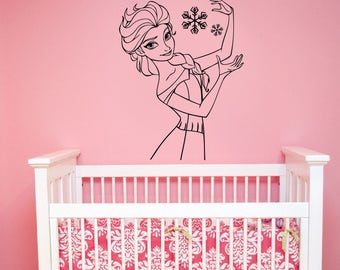 Queen Elsa of Arendelle Sticker Frozen Disney Princess Wall Decal The Snow Queen Art Decorations for Home Girls Room Cartoon Decor elq2