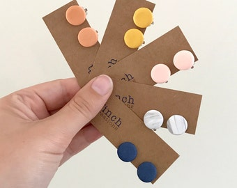 Clip on earrings, clay earrings, navy, mustard, terracotta, marble and blush