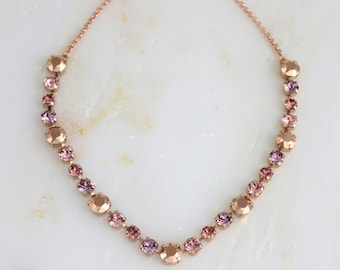 Rose gold necklace, Crystal Bridal necklace, Wedding jewelry, Swarovski crystal necklace, Blush crystal necklace, Bridesmaid necklace