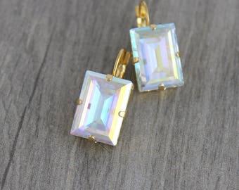 Crystal Bridal earrings, Swarovski Wedding earrings, Bridal jewelry, Gold earrings, Swarovski crystal earrings, Square cut earrings Emerald
