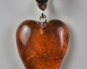 Large Cognac Amber Heart Pendant, Sterling Silver 925 Amber Jewelry, Valentine's Day Gift For Women Heart Pendant, Heart Pendant Necklace