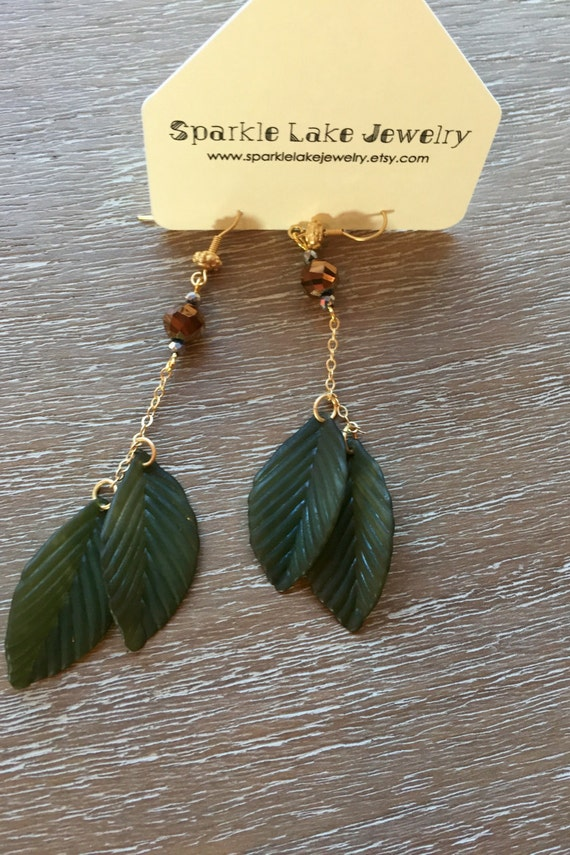 Long Boho Lucite Feather Earrings with Sparkly Brown czech Bead - Christmas Gift Idea