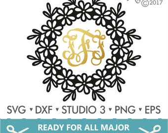 70% OFF SALE Monogram Frame Svg / Floral Frame Svg / Floral Monogram Frame Svg / Cutting files for use with Silhouette Cameo and Cricut