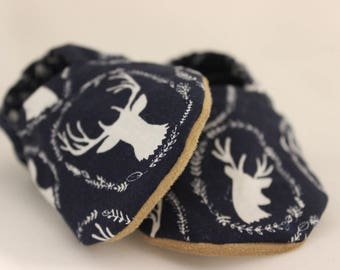 Antler Print Baby Shoes, Antler Baby Booties, Antler Crib Shoes, Navy Baby Shoes, Navy Baby Booties, Navy Crib Shoes