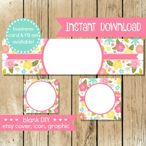 Blank diy etsy shop set flower bloom do it yourself shop blank diy etsy shop set flower bloom do it yourself shop set blank etsy cover colorful flowers banner instant download solutioingenieria Image collections