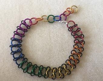 Chainmaille Pride Bracelet, European weave
